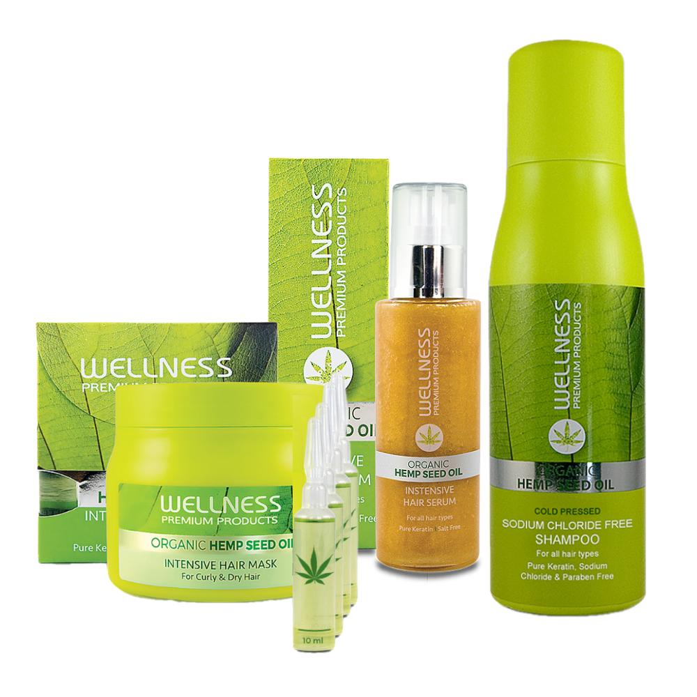 Wellness Premium Zestaw Szampon 500 ml, Serum 100 ml, Maska Wzmacniająca 500ml + Ampułki